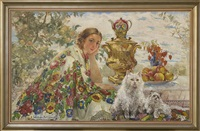 young woman with a shawl, cats and samovar in the garden (+ portrait of a woman, verso) by ekaterina kachura-falileeva