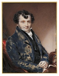 a young gentleman in blue frock coat with brass buttons by william jnr. patten