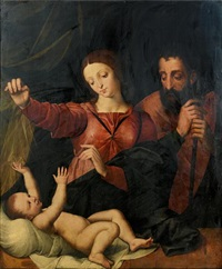 the holy family by michiel coxie the elder
