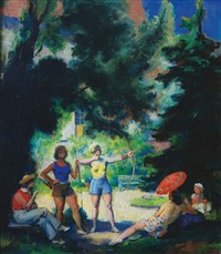archery in a summer afternoon (double-sided) by frantisek naske