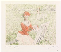 femme au chevalet by claude monet and georges william thornley