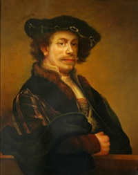 portrait of a man (after rembrandt) by emile bednes