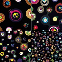 jellyfish eyes (black) (4 works) by takashi murakami