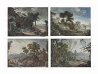 the edge of a forest, with a port in the distance; landscape with a river traversed by a wooden bridge; a landscape with a tomb; and classical figures in a forest (4 works) by pierre antoine patel