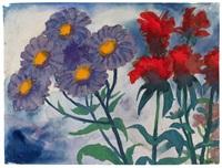 violette und rote blüten by emil nolde