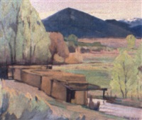 western landscape with village by hans paap