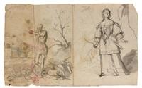 un homme et une femme en pied (+ 4 others; 5 works) by cornelis schut the elder