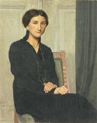 junge dame im schwarzen kleid by hermann bruno richard lange