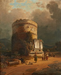 conversation sous la tour by jodocus sebastiaen van den abeele