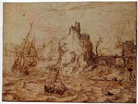 shipping on estuary, with a fortified house on a crag near the mouth of the river by cornelis claesz van wieringen