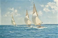 racing in the solent: six-metres close reaching in a steady breeze with their spinnakers set by montague dawson