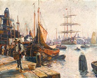a busy harbor by anthony thieme