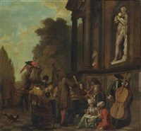 a park landscape with a musical party outside an italianate villa by jan josef horemans the younger