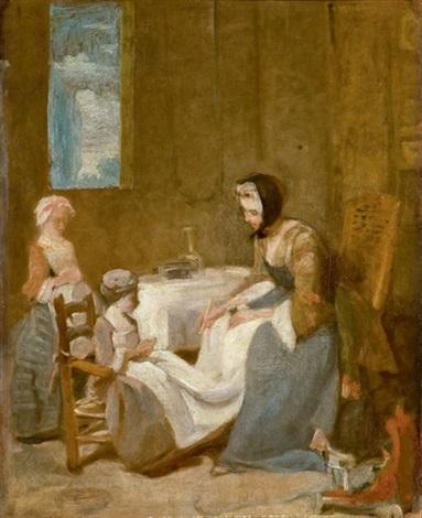 le bénédicité esquisse by jean baptiste siméon chardin