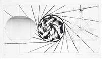 charcoal shed; silk screams; star leg; 1/2 sunglass, landing net, triangle (4 works) by james rosenquist