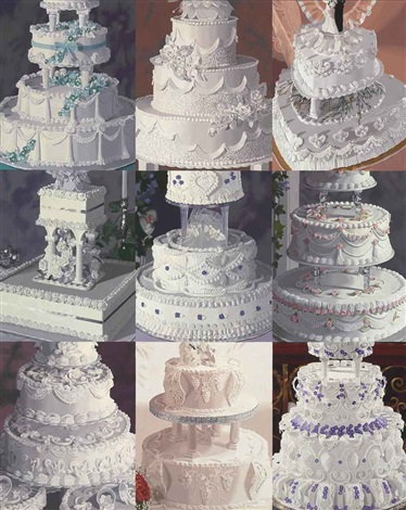 white on white nine sections of wedding cake by julia jacquette