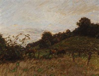 landscape with horses by julius paulsen