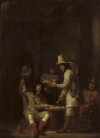 a guardroom interior with soldiers playing cards by simon kick