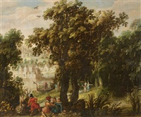 wooded landscape with elegant company by david vinckboons