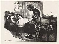 besuch im krankenhaus, pl. 4 (from die schaffenden, vol. vii) by käthe kollwitz