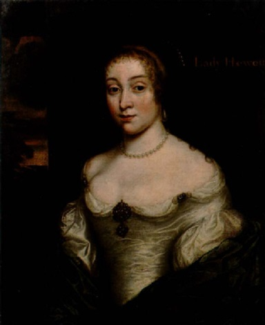 portrait of a lady hewett in a white satin dress with a blue wrap and a pearl necklace a view to a landscape beyond by john hayls