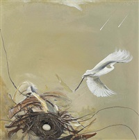 untitled (heron, rain and wind) by brett whiteley