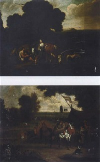 pastoral scene in an italianate landscape by jacobus tyssens