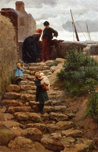 niños en la escalera by alphonse marie de neuville