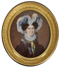 portrait de femme en robe brune ornée d'un col en dentelle et la tête couverte d'un énorme fichu by etienne ferdinand mulnier