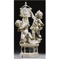 two putti adoring a banner with a female figure by giuseppe sanmartino
