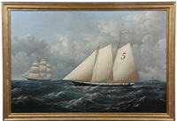 ship's portrait of pilot boat 'favorita' by conrad freitag