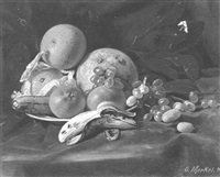 bananas, oranges, grapes, kumquats and grapefruit on a table by otto merkel