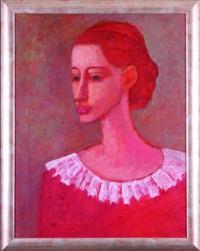 portret kobiety w czerwieni by roman zakrzewski