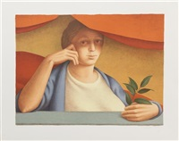 woman with branch by george tooker