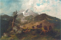 a herder with sheep and cattle in an alpine landscape by michael sachs