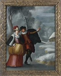 couple de patineurs by louis de caullery