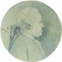 portrait d'amelot de profil droit by augustin de saint-aubin
