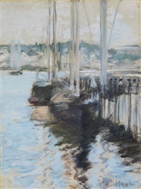 boats in harbor by john henry twachtman