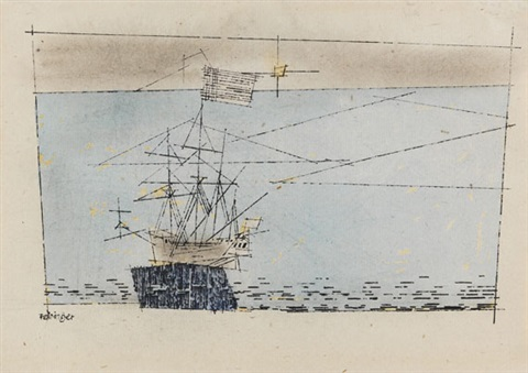 ship blue sea pink sky by lyonel feininger