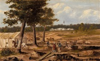 government camp from across the creek, creswick by samuel thomas gill