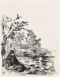 femme assise au bord d'un étang by camille pissarro