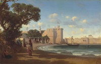 a fortified village by prosper georges antoine marilhat