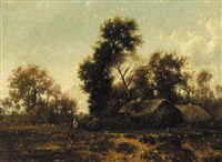 figures in a wooded landscape by cottages by jean-alexis achard