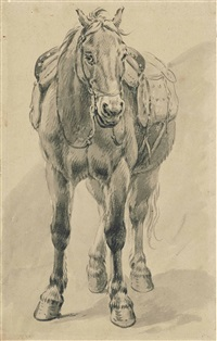 a saddled horse (recto); sketches (verso) by pieter van bloemen