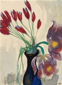 blumenstillleben mit tulpen und orchideen by emil nolde