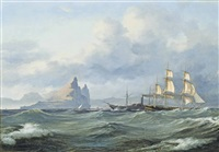 shipping in the mediterranean off the rock of gibraltar by daniel hermann anton melbye