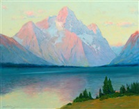 sunrise on mt. moran from jackson lake on the yellowstone by charles partridge adams