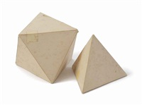 tetrahedron (model for marble sculptures) (in 2 parts) by tony smith