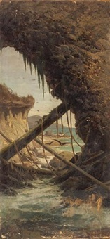 a view from a sea cave by jules tavernier