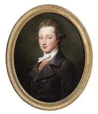 portrait of a gentleman, half-length, in a grey coat and a white jabot by pompeo girolamo batoni